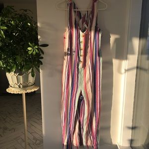 Striped Romper with Buttons down the Front
